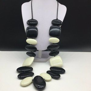 Chico's Huge Black & White Chunky Beaded Necklace